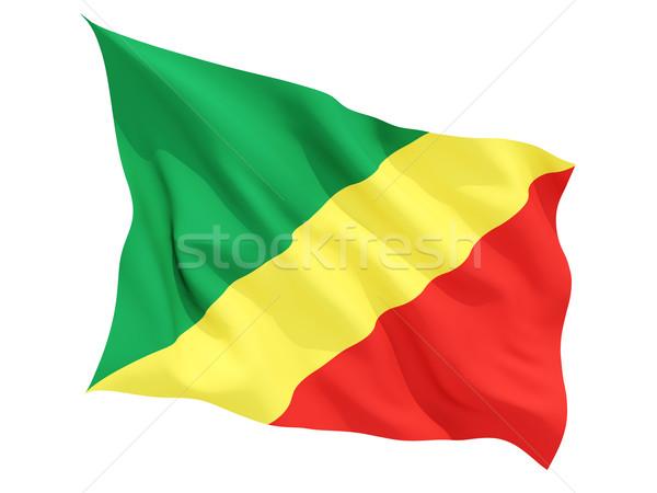 Bandera república Congo aislado blanco Foto stock © MikhailMishchenko