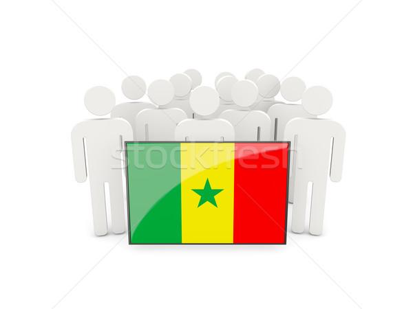 Persone bandiera Senegal isolato bianco folla Foto d'archivio © MikhailMishchenko