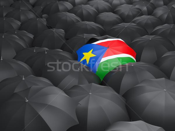 Parasol banderą południe Sudan czarny parasole Zdjęcia stock © MikhailMishchenko