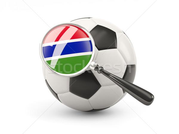 サッカー 拡大された フラグ ガンビア 孤立した 白 ストックフォト © MikhailMishchenko