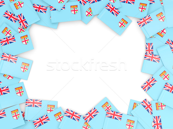 Frame vlag Fiji geïsoleerd witte Stockfoto © MikhailMishchenko
