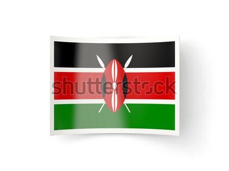 Placu ikona banderą Kenia odizolowany biały Zdjęcia stock © MikhailMishchenko