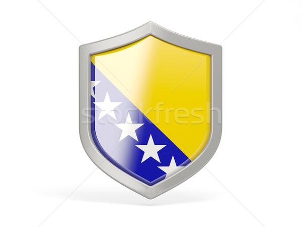 Escudo ícone bandeira Bósnia-Herzegovina isolado branco Foto stock © MikhailMishchenko