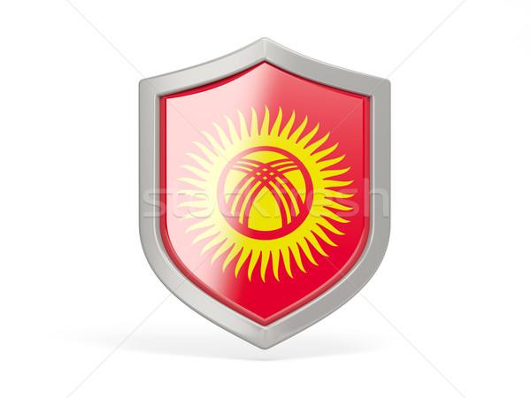Kalkan ikon bayrak Kırgızistan yalıtılmış beyaz Stok fotoğraf © MikhailMishchenko