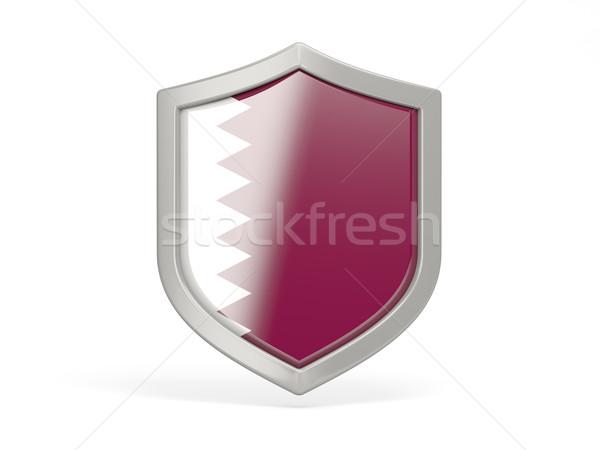 Tarcza ikona banderą Katar odizolowany biały Zdjęcia stock © MikhailMishchenko