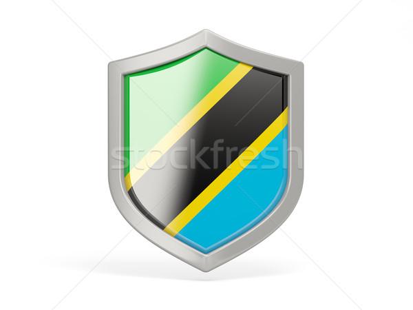 Pajzs ikon zászló Tanzánia izolált fehér Stock fotó © MikhailMishchenko
