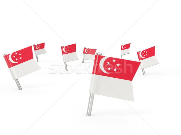 Vierkante vlag Singapore geïsoleerd witte land Stockfoto © MikhailMishchenko