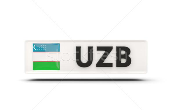 Tér ikon zászló Üzbegisztán iso kód Stock fotó © MikhailMishchenko