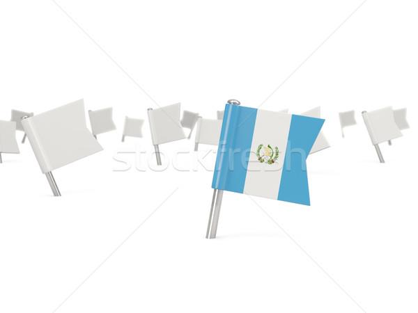 квадратный Pin флаг Гватемала изолированный белый Сток-фото © MikhailMishchenko