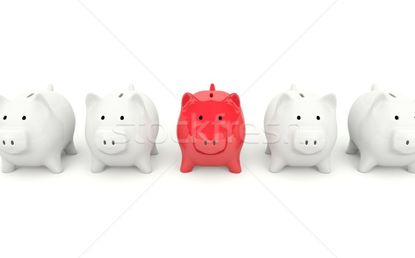 красный Piggy Bank изолированный белый монеты банковской Сток-фото © MikhailMishchenko