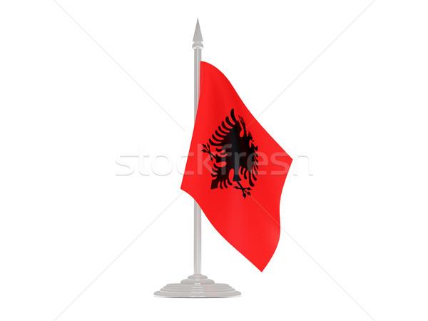 флаг Албания флагшток 3d визуализации изолированный белый Сток-фото © MikhailMishchenko