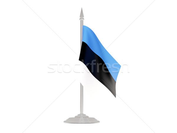 Bandera Estonia asta de bandera 3d aislado blanco Foto stock © MikhailMishchenko