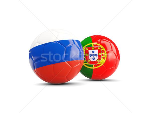 два флагами изолированный белый 3d иллюстрации Футбол Сток-фото © MikhailMishchenko