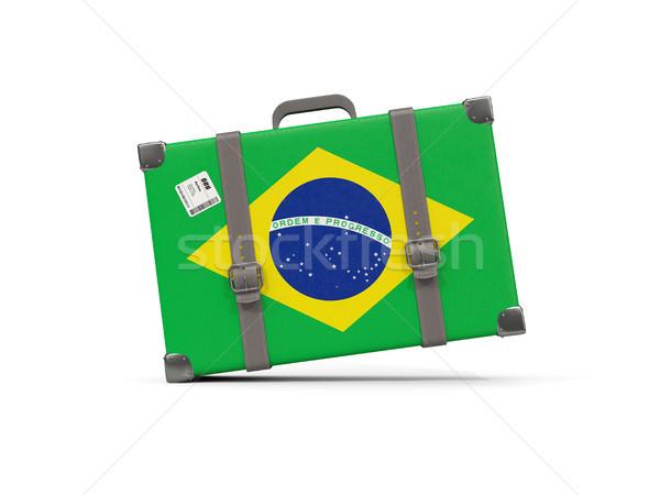 Bagagem bandeira Brasil mala isolado branco Foto stock © MikhailMishchenko