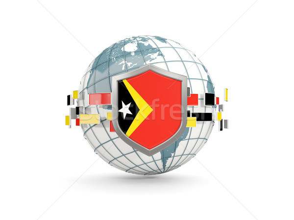 Globe and shield with flag of east timor isolated on white Stock photo © MikhailMishchenko