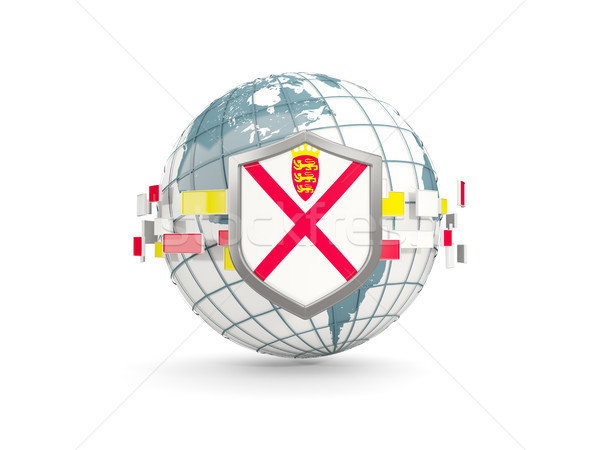 Globe and shield with flag of jersey isolated on white Stock photo © MikhailMishchenko