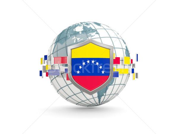Wereldbol schild vlag Venezuela geïsoleerd witte Stockfoto © MikhailMishchenko