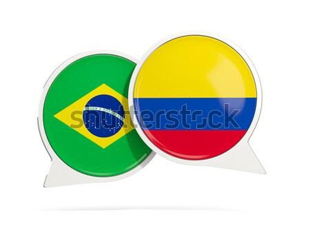 Sohbet kabarcıklar Brezilya Kolombiya yalıtılmış beyaz Stok fotoğraf © MikhailMishchenko
