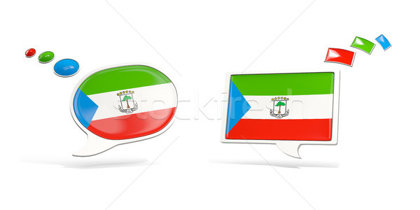 Two chat icons with flag of equatorial guinea Stock photo © MikhailMishchenko