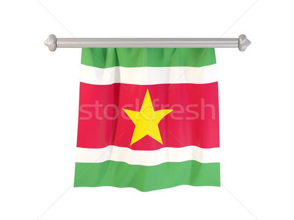 флаг Суринам изолированный белый 3d иллюстрации Label Сток-фото © MikhailMishchenko