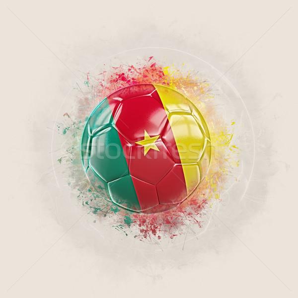 Grunge voetbal vlag Kameroen 3d illustration wereld Stockfoto © MikhailMishchenko