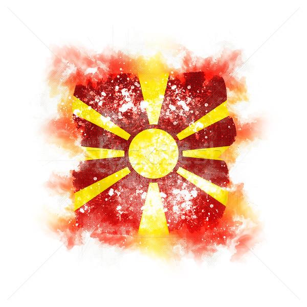 Cuadrados grunge bandera Macedonia 3d retro Foto stock © MikhailMishchenko