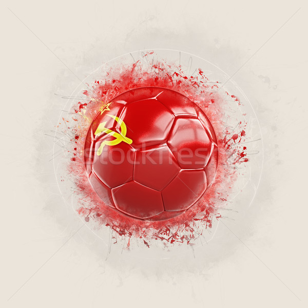 Grunge football with flag of ussr Stock photo © MikhailMishchenko