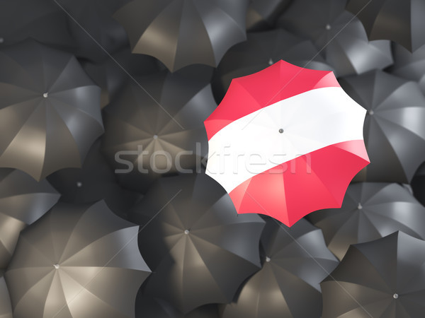 Paraplu vlag Oostenrijk top zwarte parasols Stockfoto © MikhailMishchenko