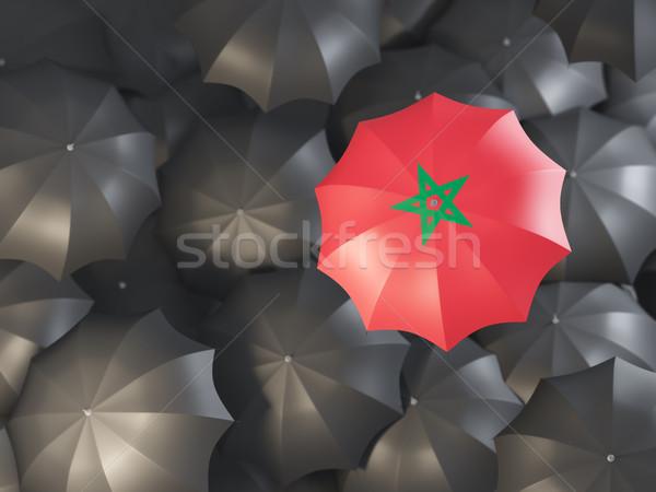 şemsiye bayrak Fas üst siyah Stok fotoğraf © MikhailMishchenko