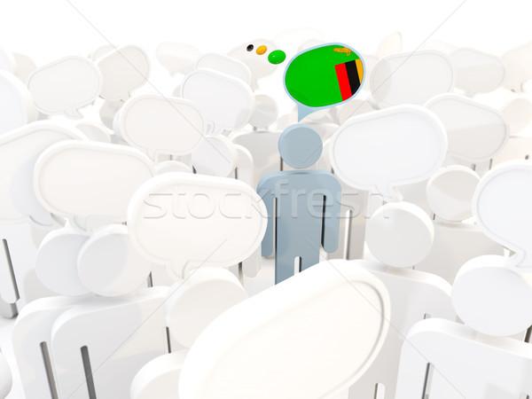 Adam bayrak Zambiya kalabalık 3d illustration imzalamak Stok fotoğraf © MikhailMishchenko