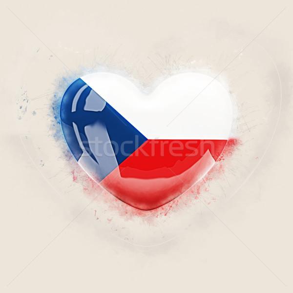 Coração bandeira República Checa grunge ilustração 3d amor Foto stock © MikhailMishchenko