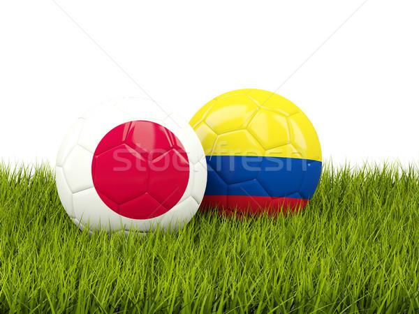 Japán vs Colombia futball zászlók zöld Stock fotó © MikhailMishchenko