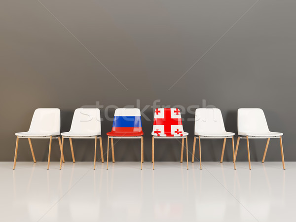 Chairs with flag of Russia and georgia Stock photo © MikhailMishchenko