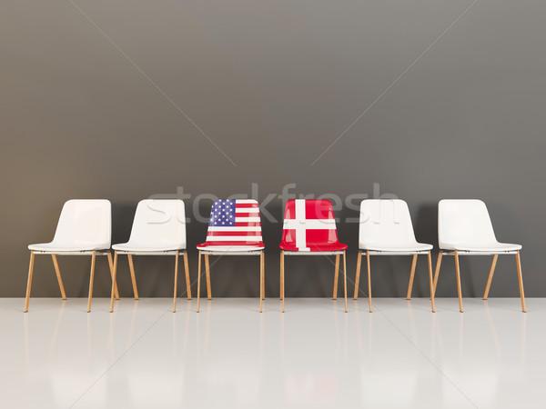 Székek zászló USA Dánia csetepaté 3d illusztráció Stock fotó © MikhailMishchenko