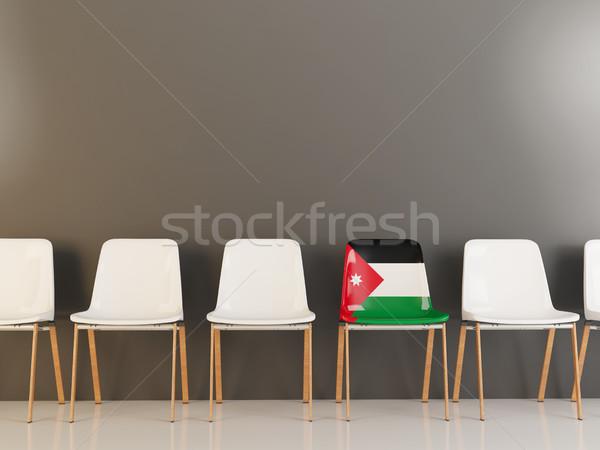 Krzesło banderą Jordania rząd biały krzesła Zdjęcia stock © MikhailMishchenko