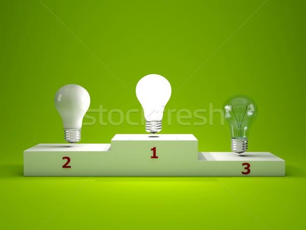 Stock photo: Light bulb on podium