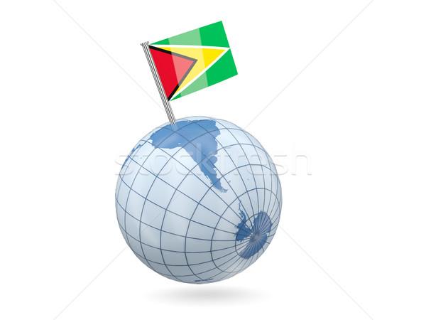 Wereldbol vlag Guyana Blauw geïsoleerd witte Stockfoto © MikhailMishchenko