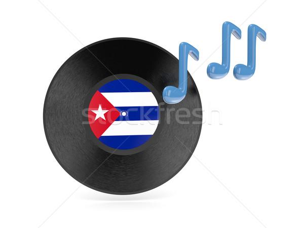 Stockfoto: Vinyl · schijf · vlag · Cuba · geïsoleerd · witte