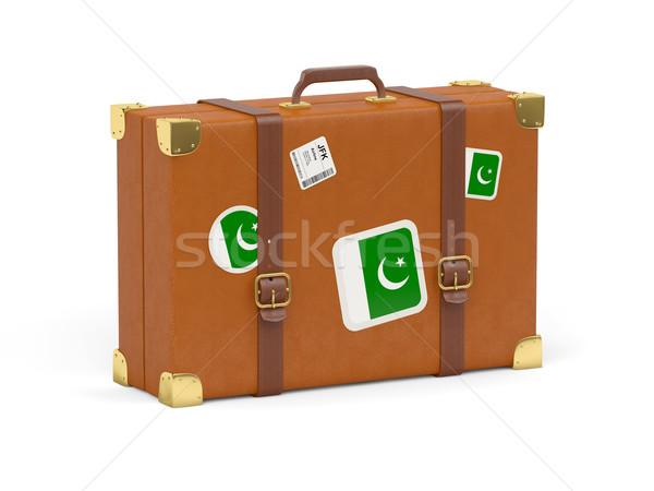 Bavul bayrak Pakistan seyahat yalıtılmış beyaz Stok fotoğraf © MikhailMishchenko