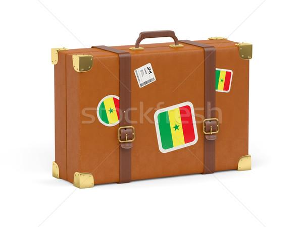 Valise pavillon Sénégal Voyage isolé blanche Photo stock © MikhailMishchenko