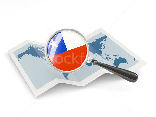 Magnified flag of chile with map Stock photo © MikhailMishchenko