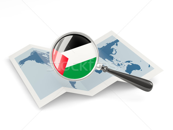 Magnified flag of palestinian territory with map Stock photo © MikhailMishchenko
