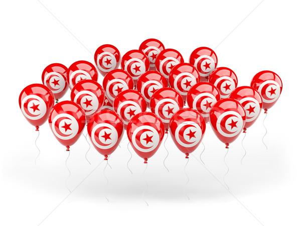 Balões bandeira Tunísia isolado branco país Foto stock © MikhailMishchenko