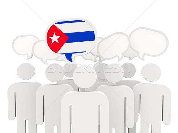 Pessoas bandeira Cuba isolado branco reunião Foto stock © MikhailMishchenko