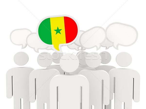 Personnes pavillon Sénégal isolé blanche réunion Photo stock © MikhailMishchenko