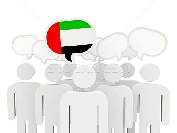 Pessoas bandeira Emirados Árabes Unidos isolado branco reunião Foto stock © MikhailMishchenko