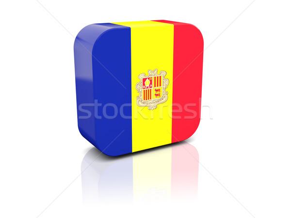 Platz Symbol Flagge Andorra Reflexion weiß Stock foto © MikhailMishchenko