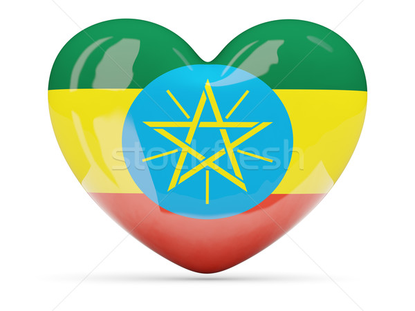 Heart shaped icon with flag of ethiopia Stock photo © MikhailMishchenko