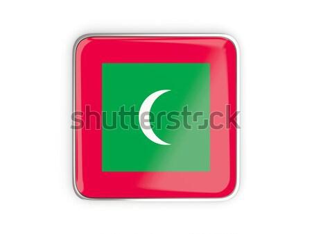квадратный икона флаг Мальдивы металл кадр Сток-фото © MikhailMishchenko