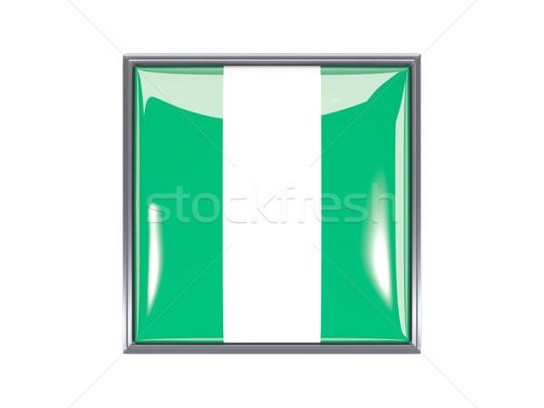 Kare ikon bayrak Nijerya Metal çerçeve Stok fotoğraf © MikhailMishchenko